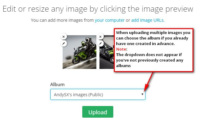 Create album for multiple images